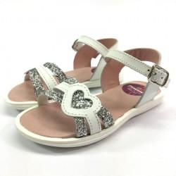 Sandalia Piel y Glitter Corazón - Guantitos
